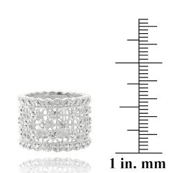 DB Designs Sterling Silver Diamond Accent Lace Design Ring - Thumbnail 2