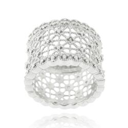DB Designs Sterling Silver Diamond Accent Lace Design Ring - Thumbnail 0