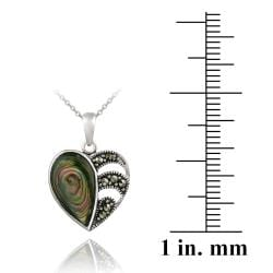 Glitzy Rocks Sterling Silver Abalone and Marcasite Heart Necklace - Thumbnail 2