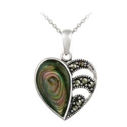 Glitzy Rocks Sterling Silver Abalone and Marcasite Heart Necklace