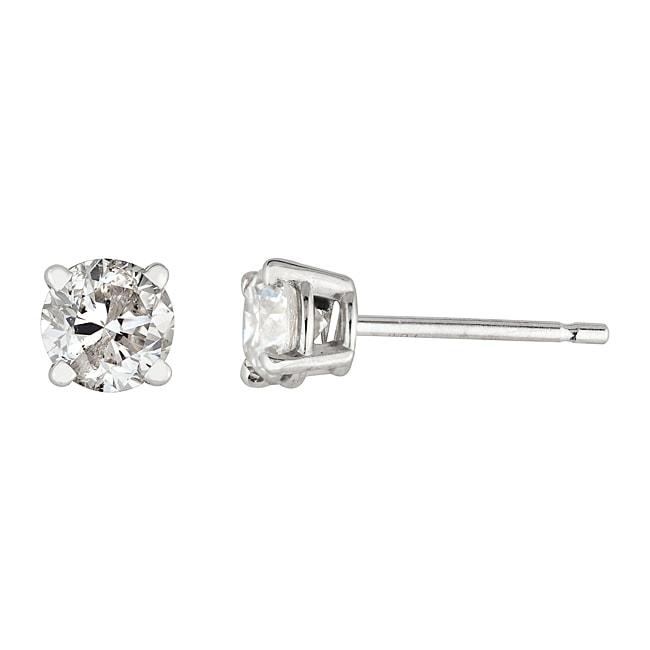 14k White Gold 3/4ct TDW Round Diamond Stud Earrings (H-I, I2-I3)