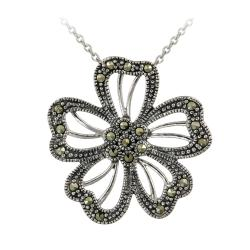 Glitzy Rocks Sterling Silver Marcasite Flower Necklace
