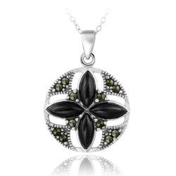 Glitzy Rocks Sterling Silver Onyx and Marcasite Round Flower Necklace