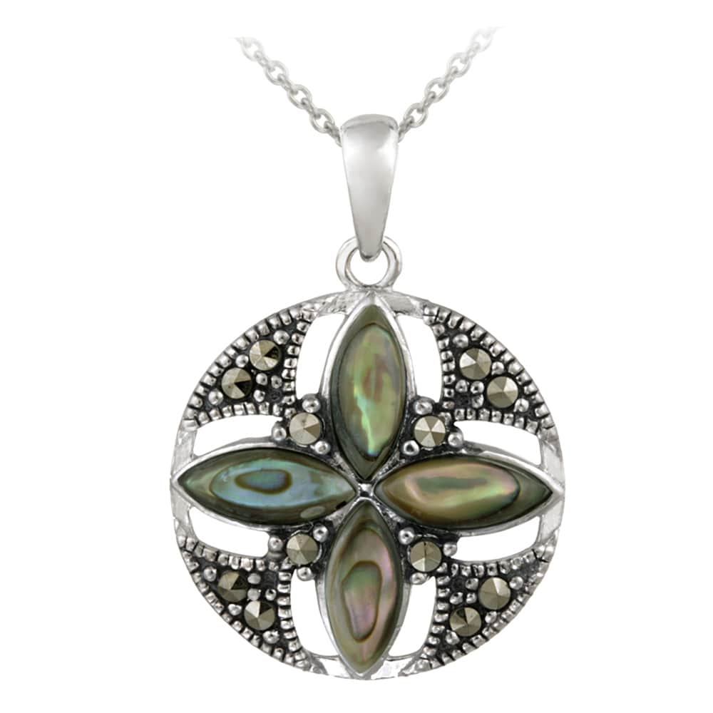 Glitzy Rocks Sterling Silver Abalone and Marcasite Round Flower Necklace