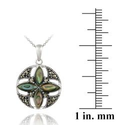 Glitzy Rocks Sterling Silver Abalone and Marcasite Round Flower Necklace - Thumbnail 2