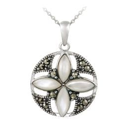 Glitzy Rocks Silver Mother of Pearl and Marcasite Round Flower Necklace