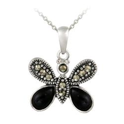 Glitzy Rocks Sterling Silver Onyx and Marcasite Butterfly Necklace