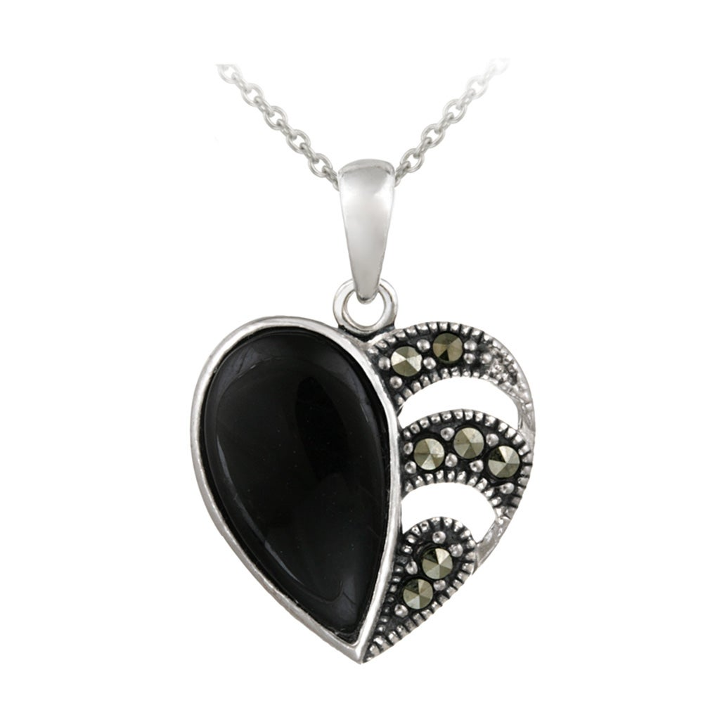 Glitzy Rocks Sterling Silver Onyx and Marcasite Heart Necklace