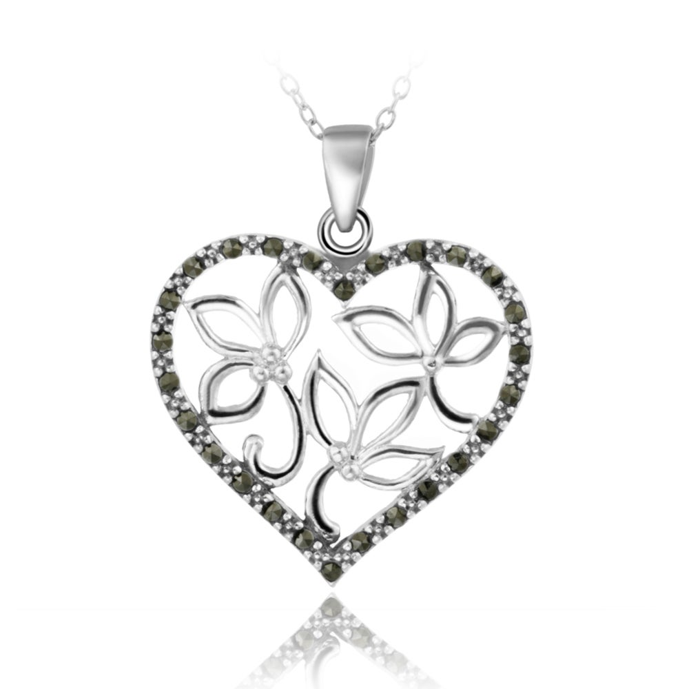 Glitzy Rocks Sterling Silver Marcasite Floral Heart Necklace