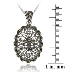 Glitzy Rocks Sterling Silver Marcasite Filigree Oval Medallion Necklace - Thumbnail 2