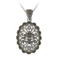 Glitzy Rocks Sterling Silver Marcasite Filigree Oval Medallion Necklace
