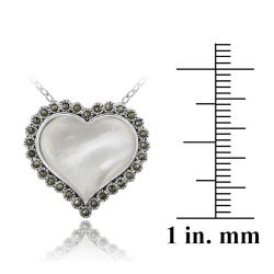 Glitzy Rocks Sterling Silver Marcasite and Mother of Pearl Heart Necklace - Thumbnail 2