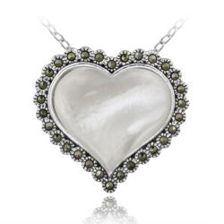Glitzy Rocks Sterling Silver Marcasite and Mother of Pearl Heart Necklace