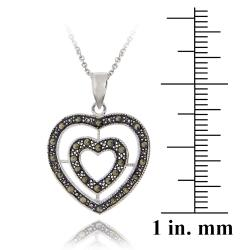 Glitzy Rocks Sterling Silver Marcasite Double Heart Necklace - Thumbnail 2