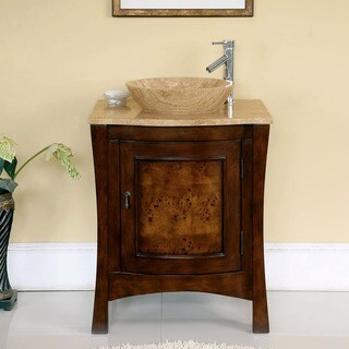 Silkroad Exclusive 26 Inch Travertine Stone Top Bathroom Vessel Vanity  Lavatory Single Sink Cabinet