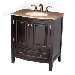 Silkroad Exclusive 32-inch Travertine Stone Top Bathroom Vanity Lavatory Single Sink Cabinet