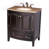 Silkroad Exclusive 32 Inch Travertine Stone Top Bathroom Vanity Lavatory Single Sink Cabinet