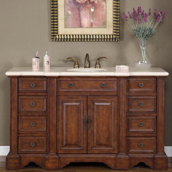 58 Bathroom Vanity Single Sink: Shop Silkroad Exclusive 58-inch Marble Stone Top Bathroom
