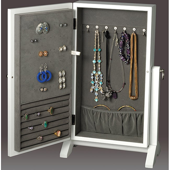Wall Mount Armoire White Jewelry Box