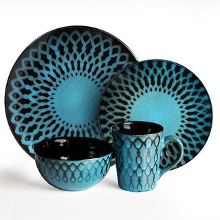 American Atelier Sicily Blue 16-Piece Dinnerware Set