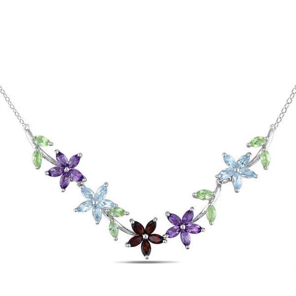 Miadora Sterling Silver Garnet, Peridot, Amethyst, and Blue Topaz Necklace