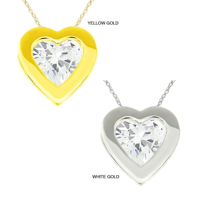 10k Gold Heart-cut Clear Cubic Zirconia Necklace