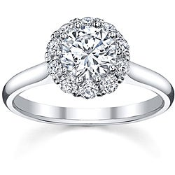 18k White Gold 3/4ct TDW Round Halo Diamond Ring