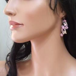 Sterling Silver Pink Quartz, Pearl and Seed Bead Earrings (5-6 mm)(Thailand)