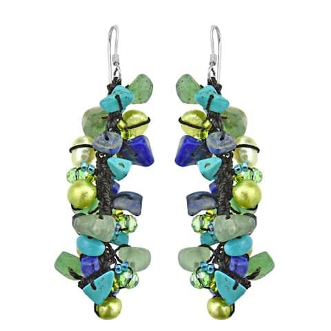 Handmade Sweet Blue-Green Serenade Lapis-Pearl Seeds Bead Silver Earrings (Thailand) - Blue