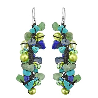 Handmade Sterling Silver Lapis, Pearl and Seed Bead Earrings (Thailand) - Blue