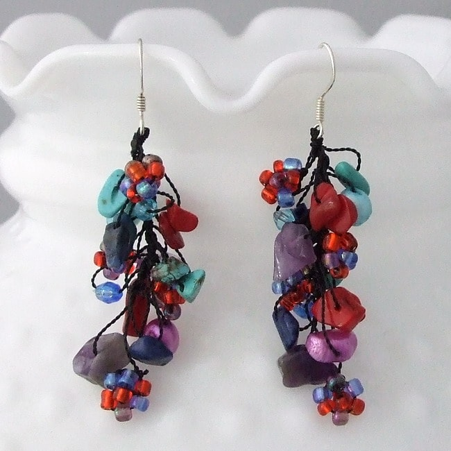 Sterling Silver Multicolor Gemstone, Pearl and Seed Bead Earrings (5-6 mm)(Thailand)