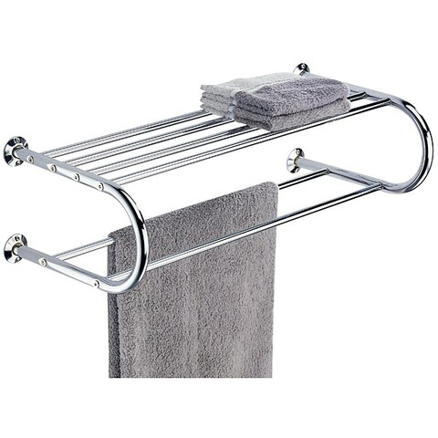 Chrome Wall Mounting Shelf Towel Rack - Silver