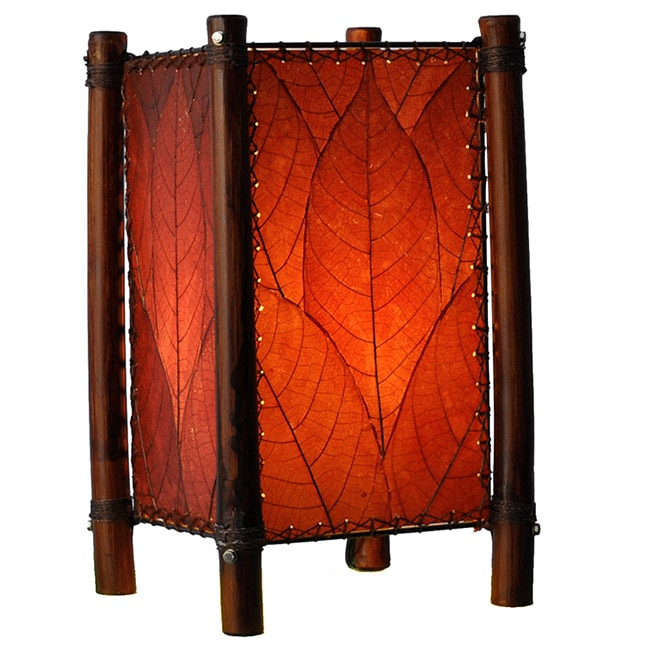Handmade Burgundy Fortune Table Lamp (Philippines) - Thumbnail 0