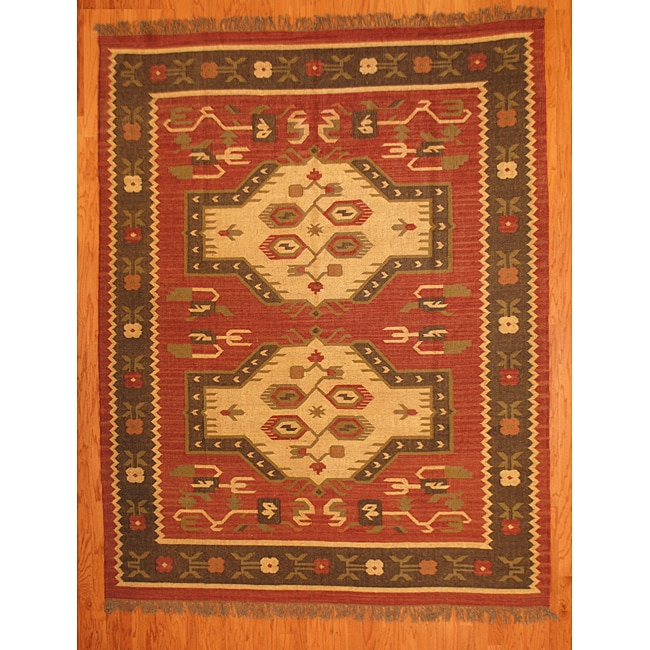 Art Kilim Wool Rug: Indo Tribal Kilim Wool Rug (8' X 10')