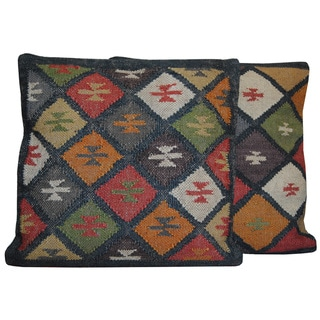 Jute and Wool Traditional Tribal Indo Kilim Pillows (Set of Two)
