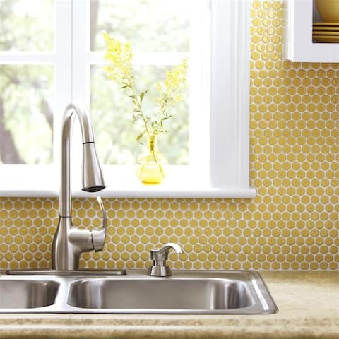 SomerTile 12x12.625-inch Penny Vintage Yellow Porcelain Mosaic Floor and Wall Tile