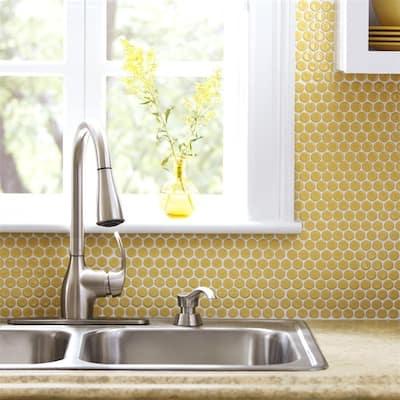 "SomerTile Hudson Penny Round Vintage Yellow 12"" x 12.63"" Porcelain Mosaic Tile"