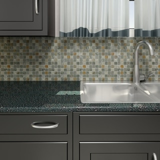 SomerTile 11.75x11.75-inch Reflections Square Wisp Glass and Stone Mosaic Wall Tile (Pack of 10)
