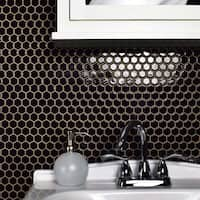 SomerTile 10.25x11.75-inch Victorian Hex Glossy Black Porcelain Mosaic Floor and Wall Tile (10 tiles/8.54 sqft.)