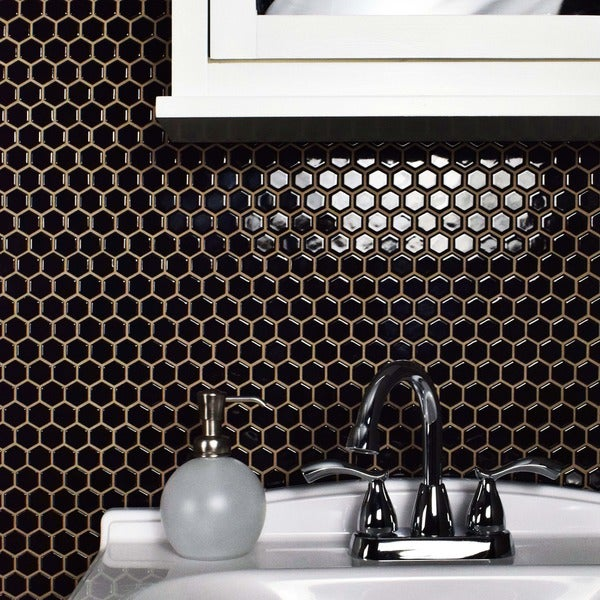 Somertile Victorian Hex 1 In Black Porcelain Mosaic Tile