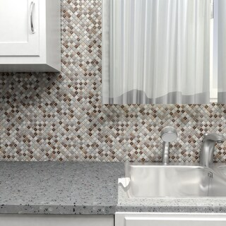 SomerTile 11.75x11.75-inch Reflections Mini Tundra Glass and Stone Mosaic Wall Tile (Case of 10)