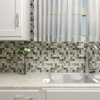 SomerTile 11.625x11.625-inch Reflections Square Tundra Glass and Stone Mosaic Wall Tile (10 tiles/9.59 sqft.)