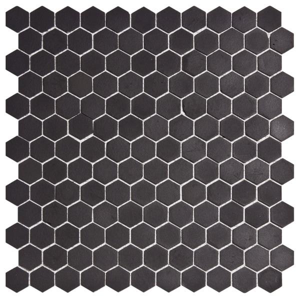 SomerTile New York 1-in Hex Black Unglazed Porcelain Mosaic Tile (Pack of 10) 11.75x12-in