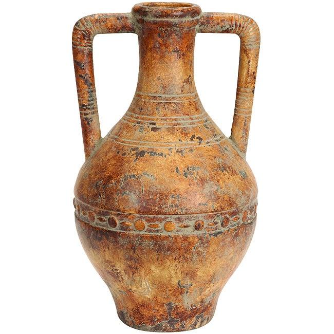 Porto Fino Distress Terra Cotta Round Ceramic Vase Free
