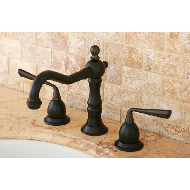 Widespread Oil Rubbed Bronze Bathroom Three-Hole Mount Faucet