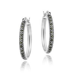 Glitzy Rocks Sterling Silver Marcasite 25-mm Hoop Earrings