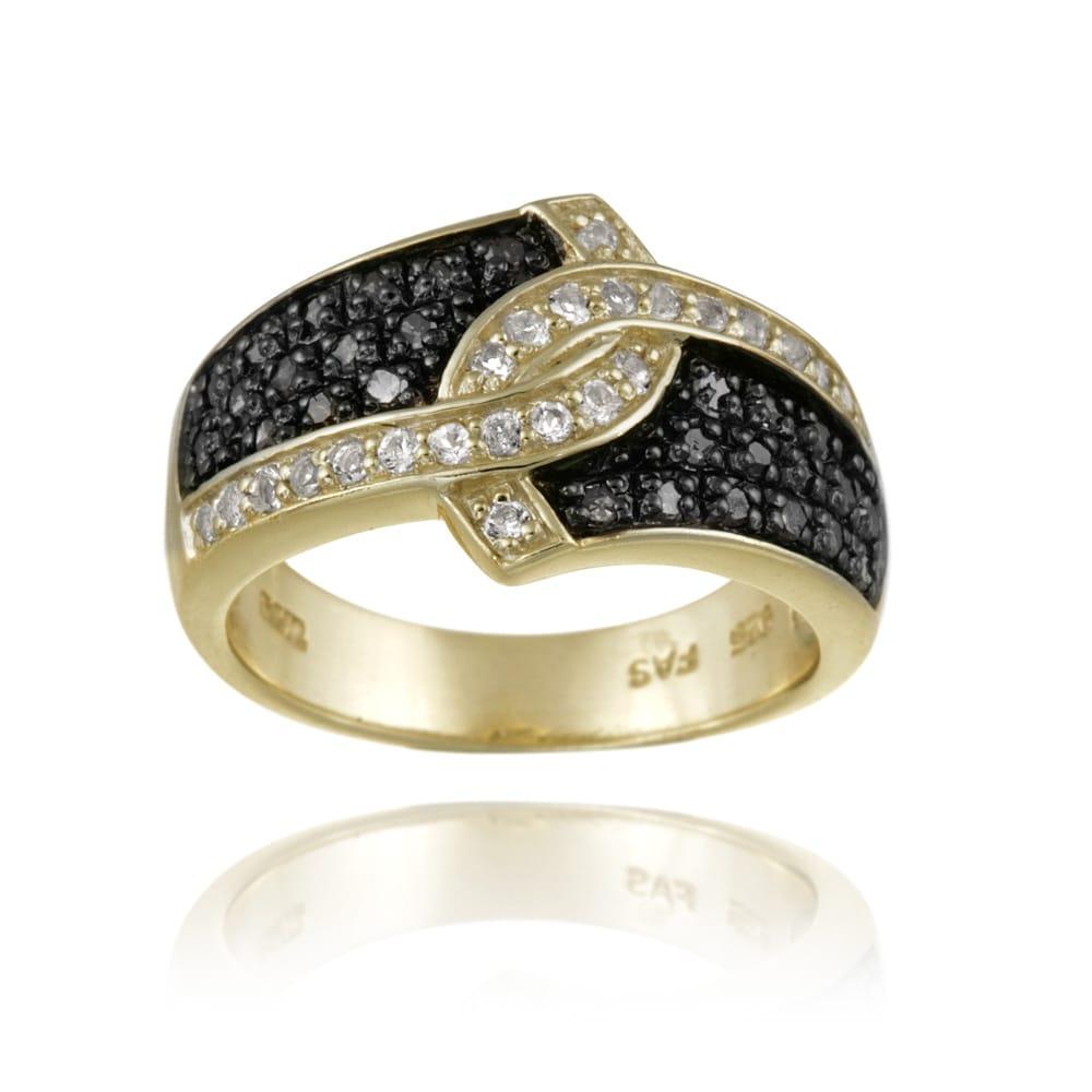 Glitzy Rocks 18k Gold over Silver 1/3ct TDW Black Diamond and White Topaz Ring