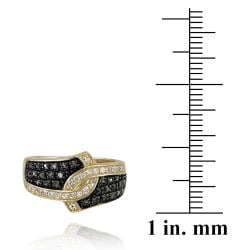 Glitzy Rocks 18k Gold over Silver 1/3ct TDW Black Diamond and White Topaz Ring - Thumbnail 2