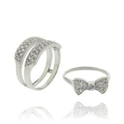 Icz Stonez Sterling Silver Cubic Zirconia Insert Style Bow Ring - Thumbnail 1