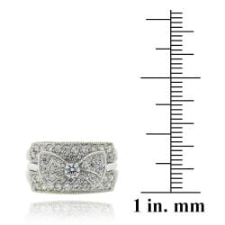Icz Stonez Sterling Silver Cubic Zirconia Insert Style Bow Ring - Thumbnail 2